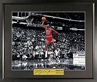 "Chicago Bulls Michael Jordan ""Free Throw Line Dunk"" 11x14 Photograph (SGA Signature Engraved Plate Series) Framed"