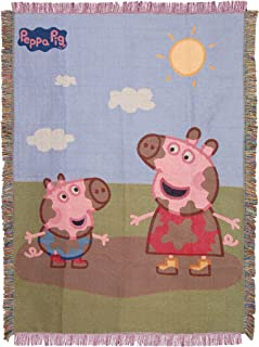 The Northwest Company Pig Muddy Peppa George Woven Tapestry Throw Blanket