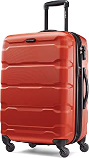 Samsonite Omni PC Hardside Expandable Luggage with Spinner Wheels, Burnt Orange, Checked-Medium 24-Inch