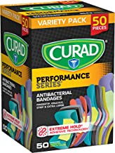 Curad Performance Series Adhesive Bandages, Assorted Variety Pack Includes Standard, XL, Finger & Knuckle Bandages, 50Count