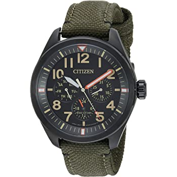 Citizen Men's 'Military' Quartz Stainless Steel and Nylon Casual Watch, Color:Green (Model: BU2055-16E)
