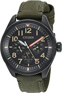 Men's 'Military' Quartz Stainless Steel and Nylon Casual Watch, Color:Green (Model: BU2055-16E)