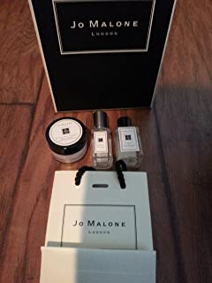 Jo Malone Wild Bluebell Cologne 9ml and Pomegranate Noir Hand Wash 15ml English Pear & Freesia Body Creme 15ml Gift Bag