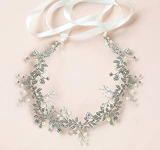 BABEYOND Crystal Wedding Headpiece Hair Vine Bridal Headband Bridesmaid Hairband Crystal Floral Leaf Forehead Band with Lace Ribbon Silver