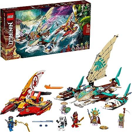 LEGO 71748 Ninjago LaBatailledecatamarans avec 4 Jouets de Bateau et Les Minifigurines de Kai, Jay et Zane