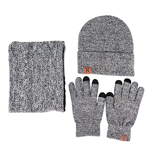 3ae993964d4f JOYEBUY Men 3 PCS Knitted Set Winter Warm Knit Hat + Scarf + Touch Screen  Gloves