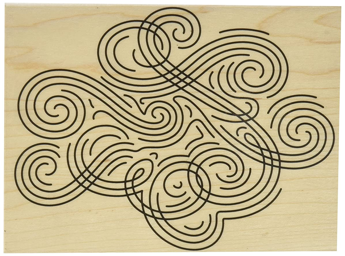 Hero Arts Large Swirl Background Red Rubber Wood Stamp