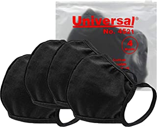 Universal 4521 Cloth Face Masks – Reusable Nose & Mouth Mask, 100% Cotton, 2 Layer, Washable Facemask, Teens & Adults – Protects from Dust, Pollen, Pet Dander & Other Irritants (4 Masks (1 Pkg))