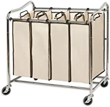 (4 Bags, Chrome) - SimpleHouseware Heavy-Duty 4-Bag Laundry Sorter Cart, Chrome