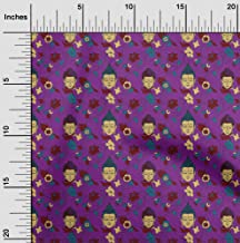 oneOone Cotton Poplin Twill Purple Fabric Leaves,Floral & Buddha Face Sewing Fabric by The Meter Printed DIY Clothing Sewi...