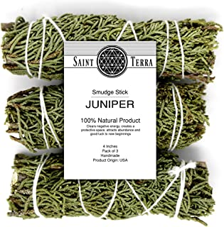 Saint Terra - Juniper Smudge Stick 4 Inches; Pack of 3
