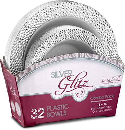Laura Stein Party Bowls Glitz series Set of 32 Elegant Disposable Dinnerware Combo Set White Bowls