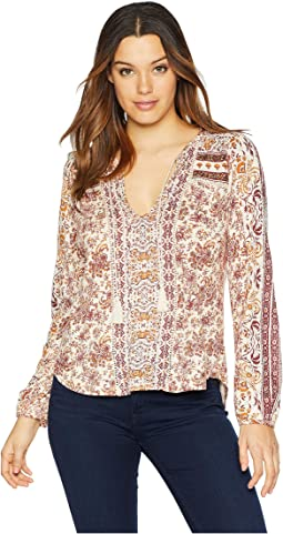 Printed Peasant w/ Beads Top