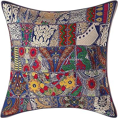 Stylo Culture Décoratif Ethnique Coton Housse De Coussin 60x60 cm Bleu Ethniques Patchwork 24 x 24 Pouces Décor Lounge Bohémien Abstrait Carré Taie d'oreiller
