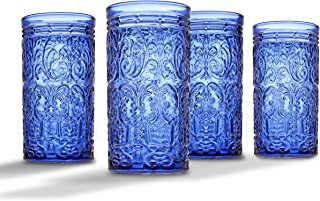 Jax Highball Beverage Glass Cup by Godinger - Blue - Set of 4