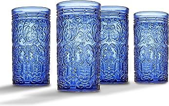 Jax Highball Beverage Glass Cup by Godinger – Blue – Set of 4
