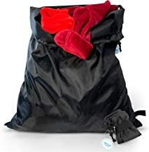 Jetset Oasis Travel Laundry Bag, Foldable Travel Bag, Heavy Duty Large Laundry Bag, Perfect Travel Essentials, Machine Washable Black Drawstring Bag (2 Pack)