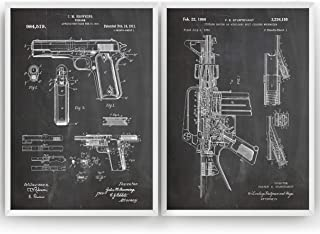 Gun Patent Art Prints - Set Of 2 - M16-1911 - Gift Merchandise Poster Vintage Old Original Blueprint Rifle Firearms Collector Owner Wall Decor - Frame Not Included