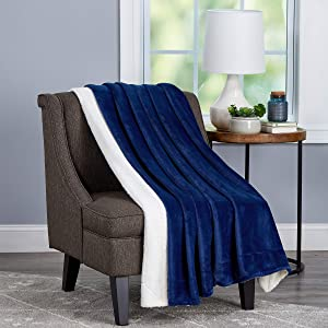 Bedford Home Poly Oversized Plush Woven Polyester Sherpa Fleece Solid Color Throw – Breathable and Machine Washable, (Midnight and White)