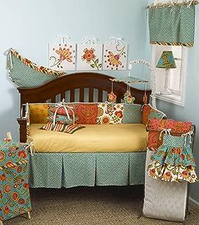 Cotton Tale Designs 100% Cotton Bright Colorful Blue, Orange, Yellow Floral Garden with Polka Dots 10 Piece Baby Nursery Crib Bedding Set, Gypsy