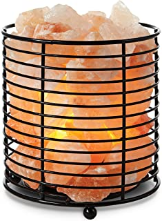 TULA Himalayan Salt Crystal Lamp W/Metal Basket, Dimmer Switch with Plug