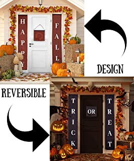 Fall Decor Halloween Decorations Reversible Trick or Treat & Happy Fall Banner Durable 3 Piece Set, Perfect for Front Door Home or Office Party Decor, Ready to Hang Indoor or Outdoor Display