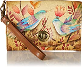 Anna by Anuschka Hand Painted Leather Women's Organizer / Clutch / Wristlet