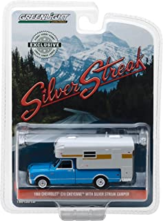 1968 Chevrolet C10 Cheyenne Truck with Silver Streak Camper, Hobby Exclusive, Chrome Accents, Metal Chassis, Real Rubber Tires, True-to-Scale Detail, Limited Edition,