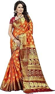Dealsure Women's Orange & Red Banarasi Saree with Blouse Piece