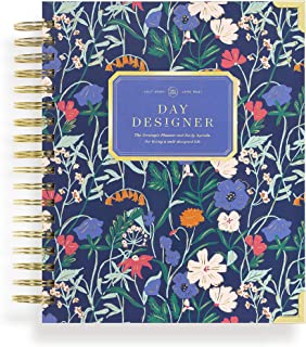 """$64 » Day Designer 2021-2022 Academic Year Daily Planner, Life and Goal Yearly Planner, Wildflowers Hardcovers, Spiral Bound, 9""""..."""