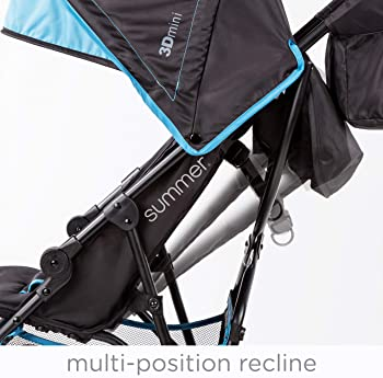 Summer 3Dmini Convenience Stroller, Blue/Black – Lightweight Infant Stroller with Compact Fold, Multi-Position Recli...