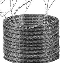 LOVSHARE 10 Rolls Razor Wire Each Coils 50 FT Ribbon Barbed 18 inches Diameter Razor Ribbon Helical Barbed Wire