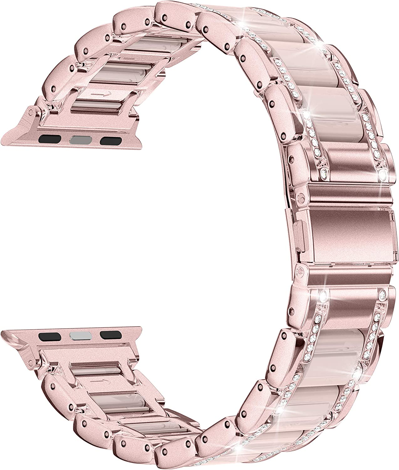 Moolia Metal Band Compatible with Apple Watch Band 38mm 40mm Women Rhinestones Resin Wristband Bling Diamond Bracelet Replacement for iWatch Series 6 5 4 3 2 1 SE, Pink Gold +Pink