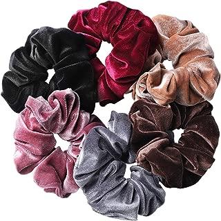 Whaline 6 Big Hair Scrunchies Velvet Elastics Large Winter Hair Bobble Scrunchy Hair Bands Women Soft Hair Ties, 6 Colors