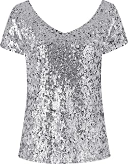 Sequin Top Women's Tunic Summer Short Sleeve V Neck Party Tunic Tops