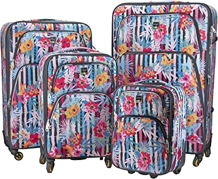 Villagio Soft Sided 4 Piece Set Luggage Collection With Spinner Wheels And Expandable Zippers (Botanic