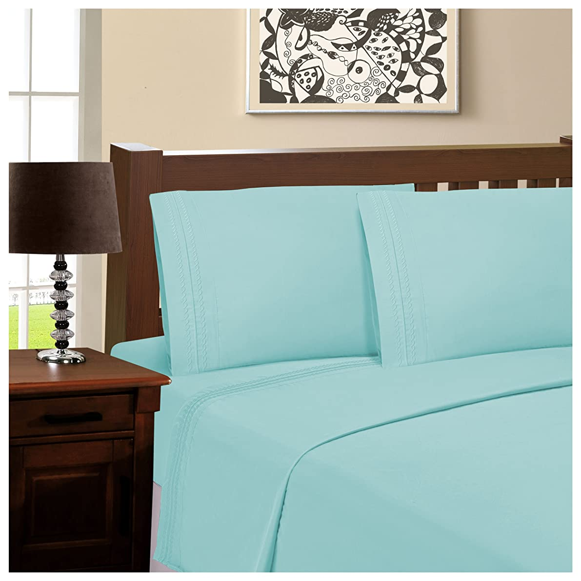"""Superior Infinity Embroidered Luxury Soft, Cooling 100% Brushed Microfiber Pillowcase Set of 2, Light Weight and Wrinkle Resistant - 20"""" x 40"""" King Pillowcase, Aqua Marine"""