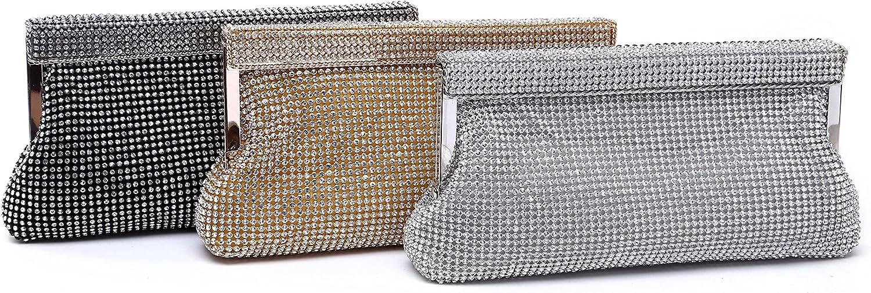 LF7 Womens Crystal Rhinestone Encrusted Evening Handbag Purse w Metal Trim and Handle