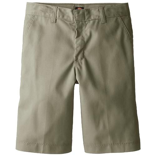 REAL SCHOOL Boys Flat Front Shorts School Uniform Approved NAVY BEIGE