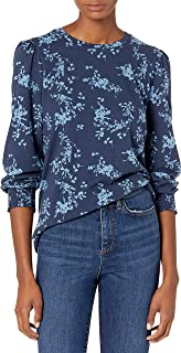 Lucky Brand Women's Puff Sleeve Crew Neck Smocked Cuff Top