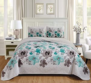 Luxury Home Collection 3 Piece King/California King Quilted Reversible Coverlet Bedspread Set Floral Printed Turquoise White Gray