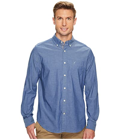 Nautica Long Sleeve Anchor Solid End on End (Riviera Blue) Men