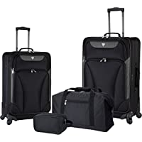 Travelers Club 4-Piece Expandable Spinner Luggage Set (Black)