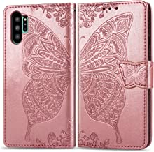 Cmeka Emboss Butterfly Flower Wallet Case for Samsung Galaxy Note 10 Plus 10+ with Credit Card Slots Holder Magnetic Closure Slim Flip Leather Kickstand Function Protective Case Rose Glod