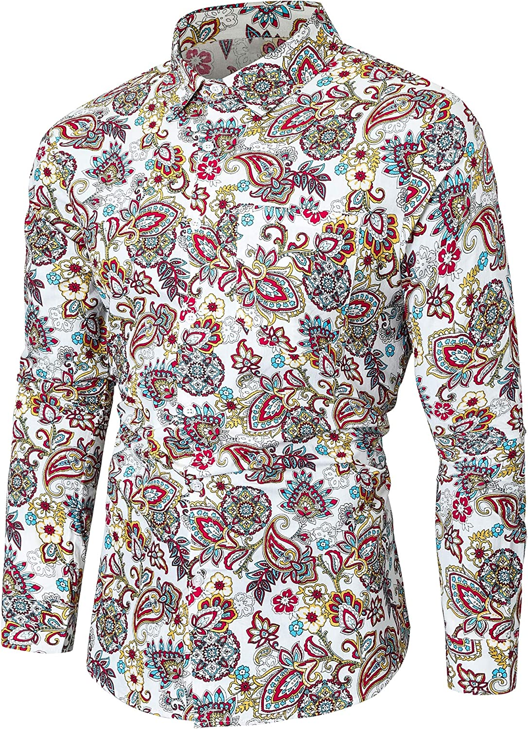 1960s Mens Shirts | 60s Mod Shirts, Hippie Shirts Emaor Mens Stylish Floral Long Sleeve Shirt & Short Sleeve Shirt $24.68 AT vintagedancer.com