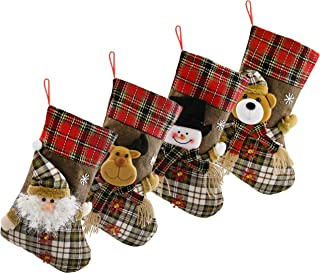Houwsbaby Set of 4 Christmas Stockings 3D Image Holders Kit Flax Socks Tartan Ornament Party Decoration Gift Bags for Family, Brown, 17 inches (03)