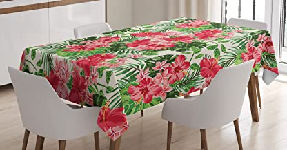 Ambesonne Floral Tablecloth, Tropical Botanic Flowers Leaves Ivy Island Hawaiian Image, Dining Room Kitchen Rectangular Table Cover, 60W X 90L inches, Dark Coral Hunter Green Jade Green