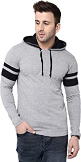 BI FASHION Men's Round Neck Contrast Hooded Full Sleeves Stripe T-Shirt