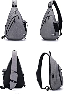 Water-Proof Sling Backpack/Crossbody Bag/Shoulder Bag for Travel, Hiking, Cycling, Camping for Women & Men (Gray)