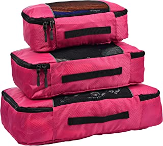 Hopsooken Packing Cubes System - 3 Pieces Sets Travel Luggage Packing Organizers (Rose)